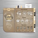 Vintage bakery menu design on cardboard background. Stock Photos