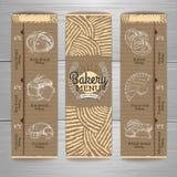 Vintage bakery menu design on cardboard background. Royalty Free Stock Image
