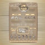 Vintage bakery menu design on cardboard background. Restaurant menu royalty free illustration