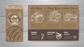 Vintage bakery menu design on cardboard background. Royalty Free Stock Photo