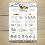 Vintage bakery menu design. Restaurant menu. Document template. Vintage bakery menu design. Restaurant menu Royalty Free Stock Photo