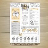 Vintage bakery menu design. Restaurant menu. Document template. Vintage bakery menu design. Restaurant menu Stock Photography