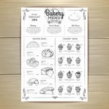 Vintage bakery menu design. Restaurant menu. Document template Stock Photo