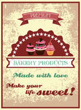 Vintage bakery poster Stock Image