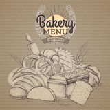 Vintage bakery products illustration on cardboard background. Vintage bakery products on cardboard background Stock Photos
