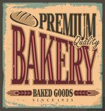 Vintage bakery sign. Retro poster with bread. Old fashioned background with promotional message. Tin sign with rusty texture. Vector illustration with old Stock Photos