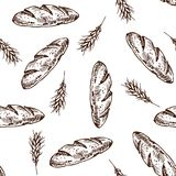 Bread  pattern. Vintage bakery sketch style seamless pattern. Set of fresh bread. Hand drawn illustration of bread  and bakery product. Bakery hand drawn Stock Images