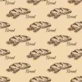 Bread  pattern. Vintage bakery sketch style seamless pattern. Set of fresh bread. Hand drawn illustration of bread  and bakery product. Bakery hand drawn Stock Photos