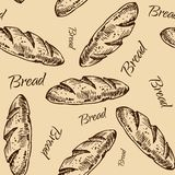 Bread  pattern. Vintage bakery sketch style seamless pattern. Set of fresh bread. Hand drawn illustration of bread  and bakery product. Bakery hand drawn Stock Image