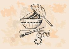 Vintage Baking Supplies Stock Photography