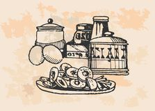 Vintage Baking Supplies Royalty Free Stock Photography