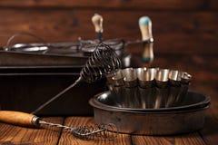 Vintage  Baking Tins and tools Royalty Free Stock Photo