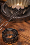 Vintage Baking Tins and tools. On wooden background stock photo