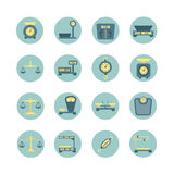 Vintage balance, electronic and mechanical scales, weight measurement flat vector icons Royalty Free Stock Photos
