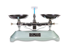 Vintage balance scale on white background. Ancient two pan balance, isolated on white Royalty Free Stock Photos
