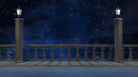 Vintage balcony  with view of beautiful night sky. 3 d render Stock Photography