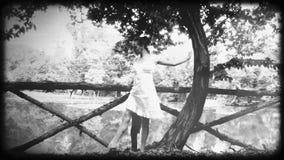 Vintage ballerina, old film effect stock footage