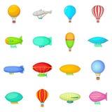 Vintage balloons icons set, cartoon style Stock Photography