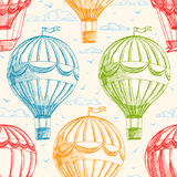 Vintage balloons. Vintage seamless background with balloons flying in the sky, clouds and birds Stock Images