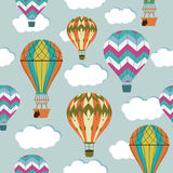 Vintage balloons seamless pattern. Retro hot air cartoon airship background Stock Image