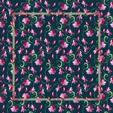 Vintage bandana print with pink flowers on a dark background. Stock Image