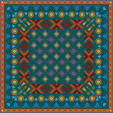 Vintage bandanna with colorful ornate patterns Royalty Free Stock Images