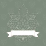Vintage banner. Vintage baroque banner with ribbon against seamless pattern Royalty Free Stock Photography