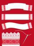Vintage banner. Red country embroidery Stock Image