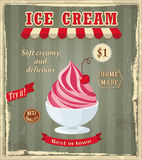 Vintage banner with cherry ice cream Royalty Free Stock Image