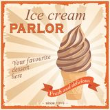 Chocolate ice cream in the vintage parlor. Vintage banner chocolate ice cream with text Ice cream parlor, Your favourite dessert here, Fresh and delicious. Image Stock Images