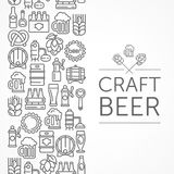 Vintage banner for craft brewery grayscale. Vintage banner for craft brewery, linear grayscale icons and text on white. Vector illustration Royalty Free Stock Images