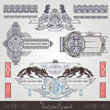 Vintage banner and element with capital letter and animal Royalty Free Stock Photography