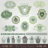 Vintage banner with grapes and engraving bottles Royalty Free Stock Photos