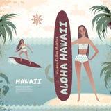 Vintage banner of Hawaiian island with a surf girl Stock Photo