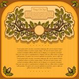 Vintage banner from oak branch leaves and acorn on yellow. Background vector illustration