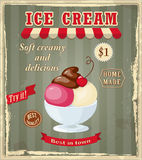 Vintage banner with scoop cherry ice cream Stock Images