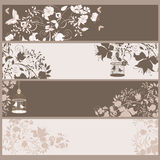 Vintage banners. Set of 4 vintage horizontal banners flowers and  birds in cage Royalty Free Stock Images