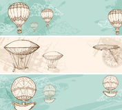 Vintage banners with air balloons Royalty Free Stock Image