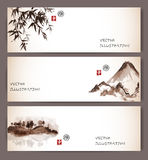 Vintage banners with bamboo, mountains and island Royalty Free Stock Photo