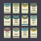 Vintage banners cards set. Ornamental mandala, ethnic circle dec Royalty Free Stock Photography