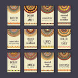 Vintage banners cards set. Ornamental mandala, ethnic circle dec Royalty Free Stock Image