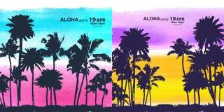 Vintage banners of Hawaiian island Royalty Free Stock Photography