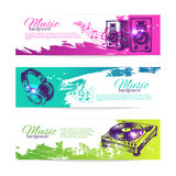 Vintage banners of music design. Set of hand drawn Stock Image