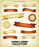 Vintage Banners And Ribbons Set. Illustration of a collection of vintage retro banners, signs and scrolls with grunge texture and deluxe style Royalty Free Stock Image