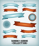 Vintage Banners And Ribbons Set. Illustration of a collection of vintage blue and red retro banners, signs and scrolls with grunge texture and deluxe style for Stock Images