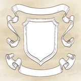 Vintage banners. Ribbons and shield. Hand drawn vector illustration Royalty Free Stock Photos