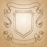 Vintage banners. Ribbons and shield. On old paper background. Hand drawn vector illustration Royalty Free Stock Photos