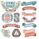 Vintage banners. Ribbons, stickers, with examples of inscriptions. Banners for retro logos unusual shape. Scratches on a separate layer - easy to remove. The Royalty Free Stock Photos