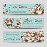 Vintage banners with roses and leaves Stock Photography