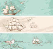Vintage banners with sailing ships Royalty Free Stock Image